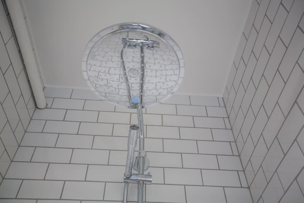 The best shower ever. Full rainfall with high pressure.