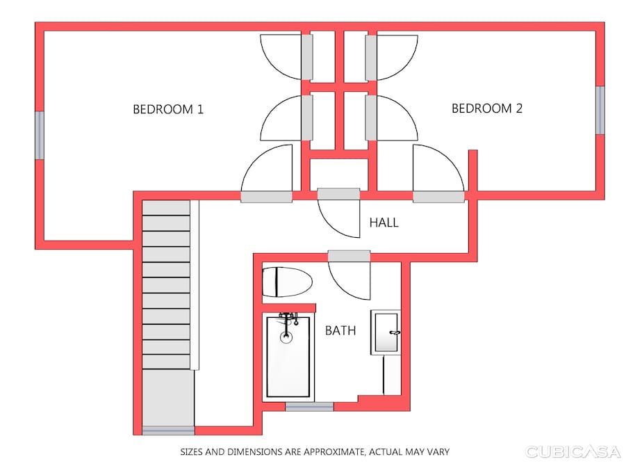 This is the floor plan for the space included in this listing - 2 bedrooms and a private bathroom!