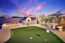 Practice your tee on the private putting green or roast some marshmallows on the outdoor fireplace.