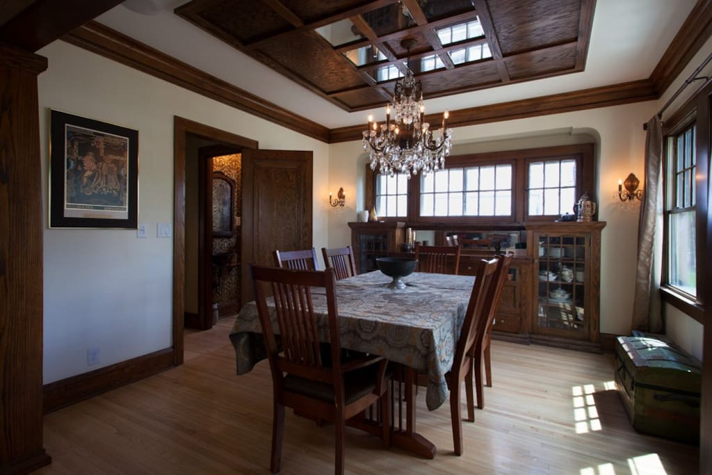 Formal Dining Room with built-in buffet and custom oak ceiling.