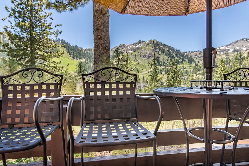 Savor scenic views of the Squaw Valley from the  outdoor seating.