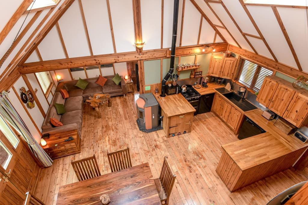 The beautiful wooden interior of the main lodge.