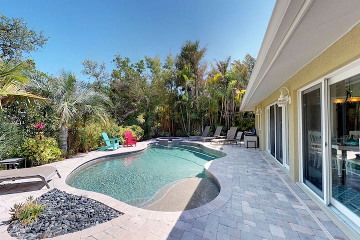 Breezy canalfront home w/ pool & dock - 3 blocks to Bean Point Beach!