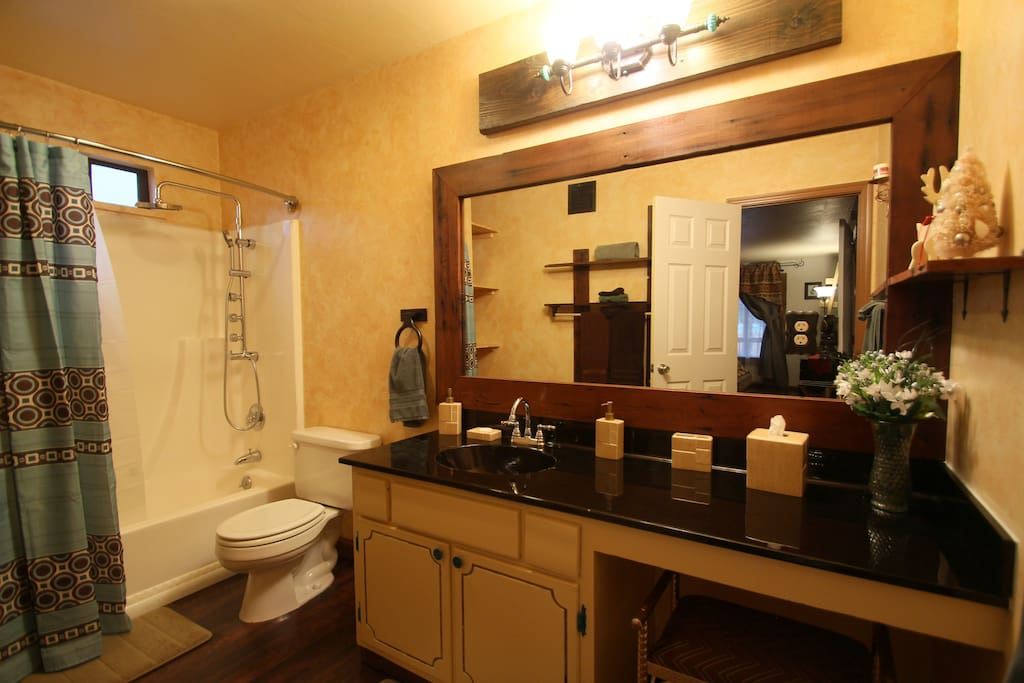 Beautiful master bathroom, offers rainshower head, hand held and body jets!