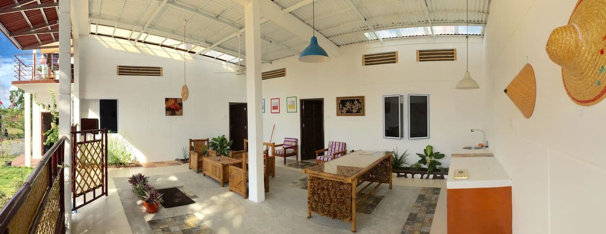 Wide-eye view of our common space and our 2 rooms! Let's enjoy collaborative talks and discussions here!