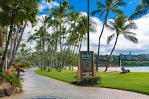 Path at Kalapaki Beach. Dukes restaurant serves delicious food and Taco Tuesday is half price fish tacos from 4-6 happy hour every Tuesday