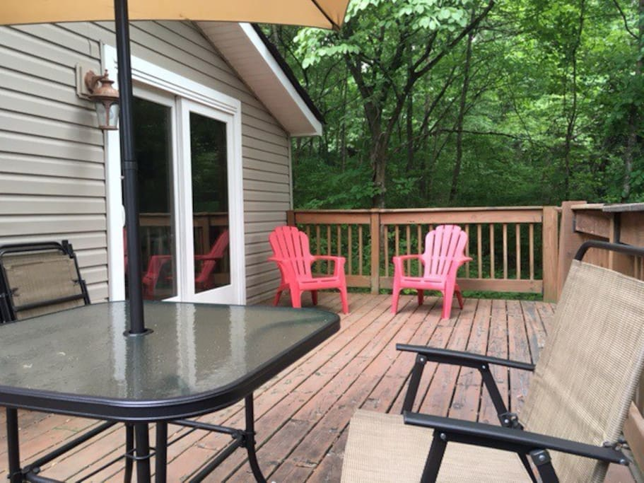 Outdoor deck connected to home