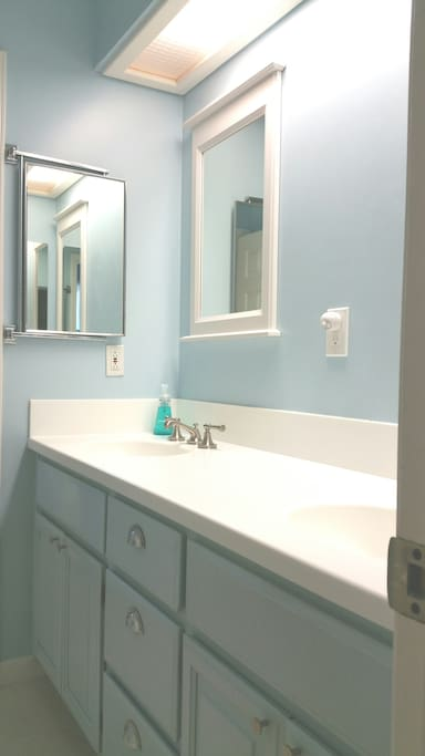 Semi-private vanity with 2 sinks