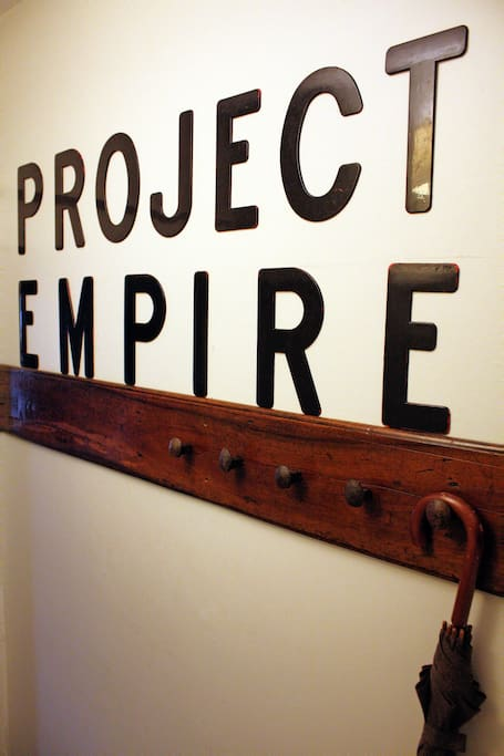 Entranceway coat rack, marquee letters salvaged from the historic O'Keefe Centre, downtown Toronto.