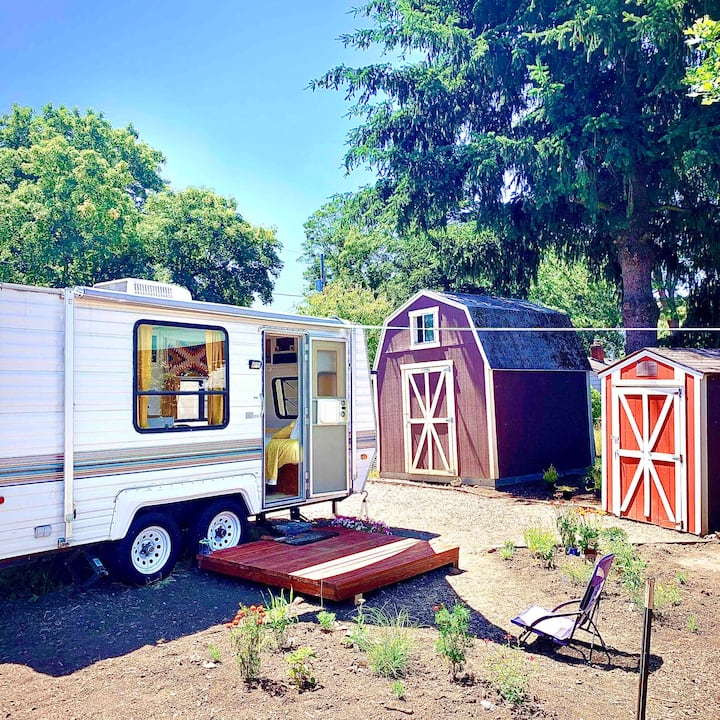 Hip Urban Camping, in Charming Camper Tiny Home!