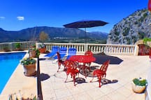 Plenty of space on the terrace for sunbathing or dining, with fabulous views
