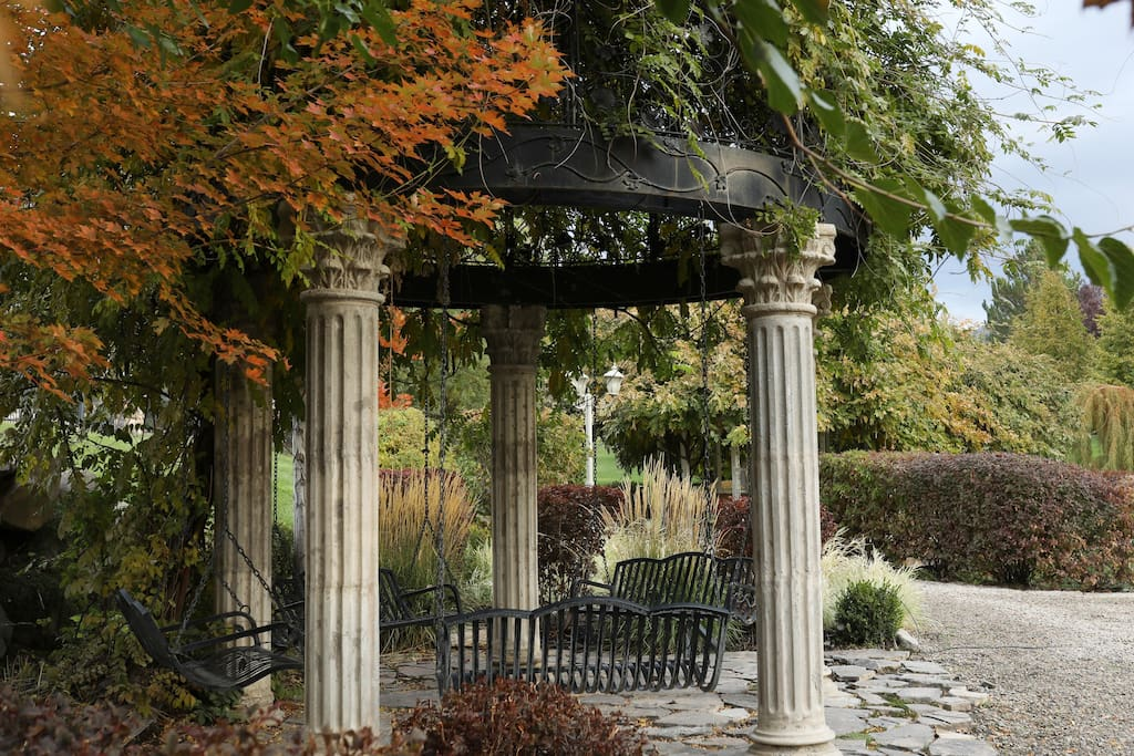 Lisa's romantic dome in the Fall, with the sounds of the running Spring Creek along the walking path.