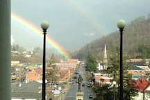 Our beautiful downtown Sylva from the historic courthouse (now library) steps.