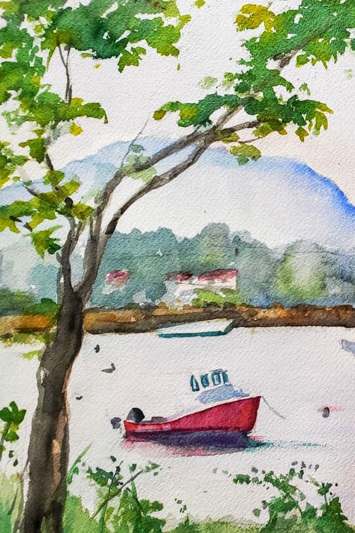 Coastal scene in watercolor