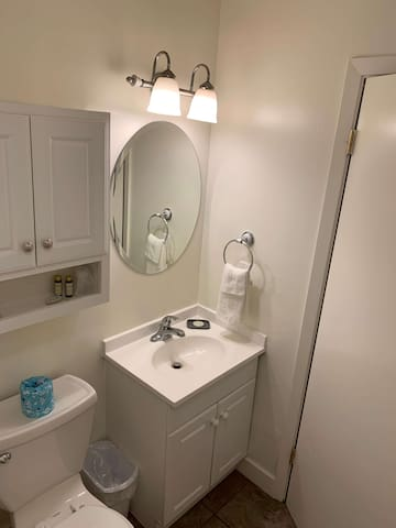 Sparkling bathroom cleaned by our professional staff.