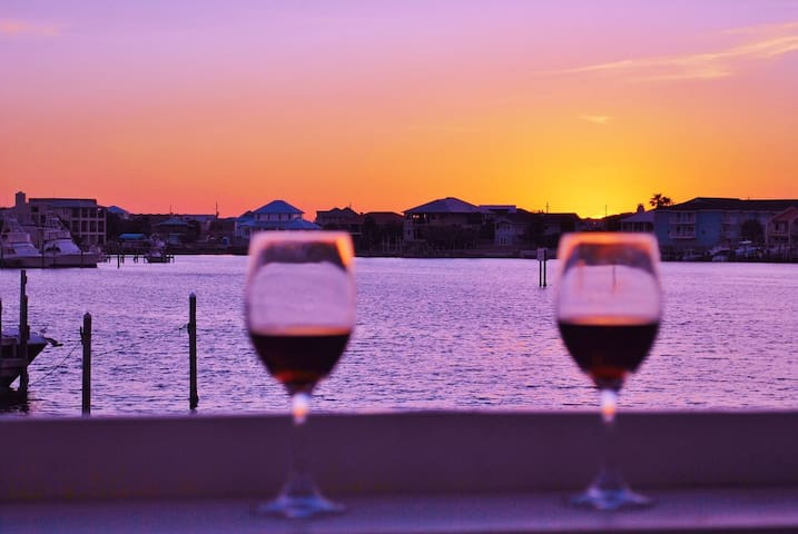 Enjoy a glass of wine while watching the breath taking sunsets.