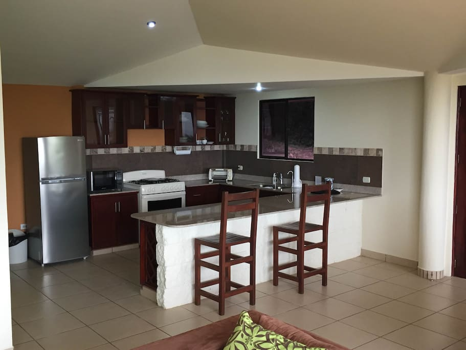 Kitchen, appliances included, microwave, coffee maker, fridge and stove