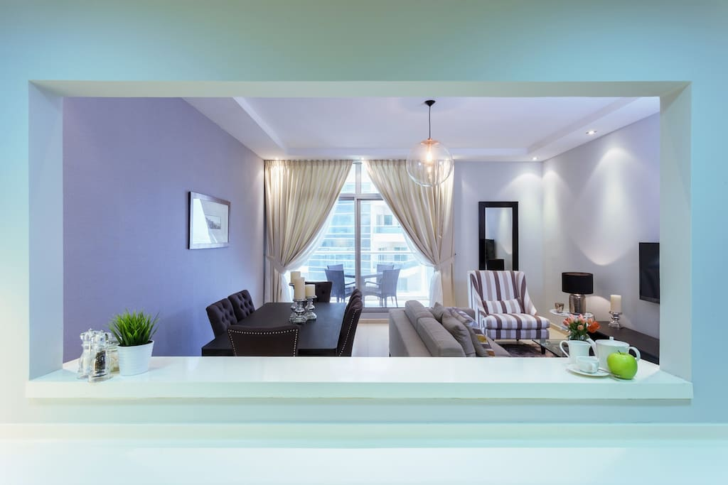 Living, dining and kitchen space