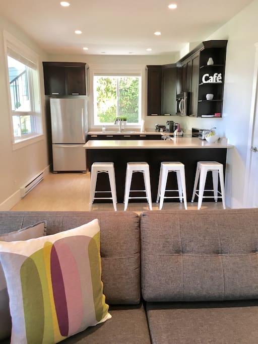 Full size kitchen/living room