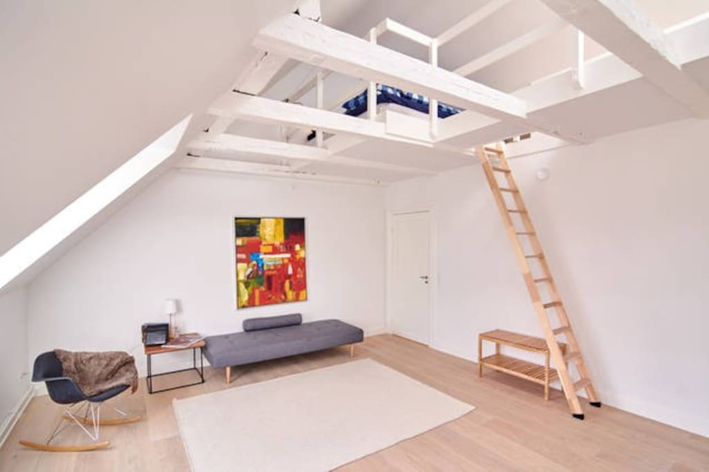 Very cool Nordic/ New Yorker style. This is the 1st duplex which is 62m2. Beds upstairs