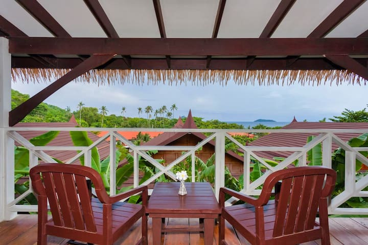 A private balcony located in a peaceful and natural area of the resort.