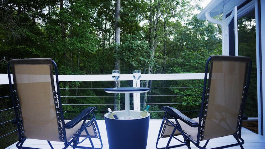 Enjoy an adult beverage while  watching the deer emerge from the vast private wooded view!
