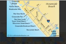 Oceanside map from Harbor to Bucaneer Beach