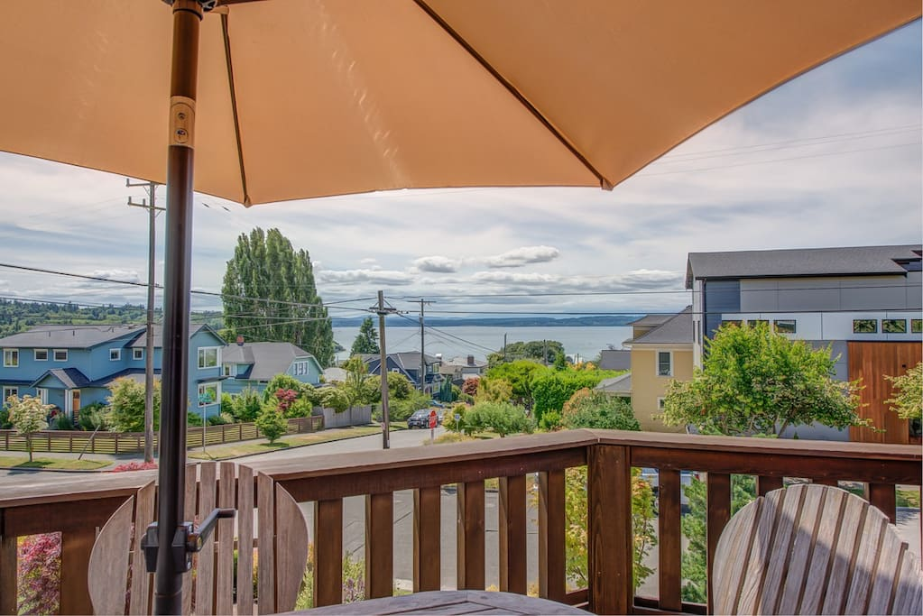 Beautiful front porch to relax and take in the Olympic Mountains