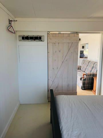sliding barn door in bedroom