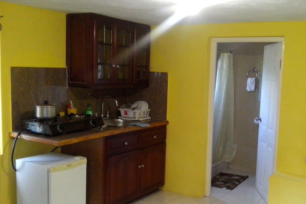 Kitchen with mahogany cupboards, 2-burner stove, pots, kettle, refrigerator.