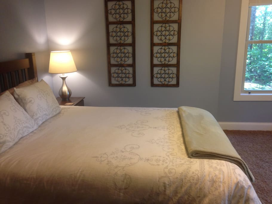 Queen bed in large private room