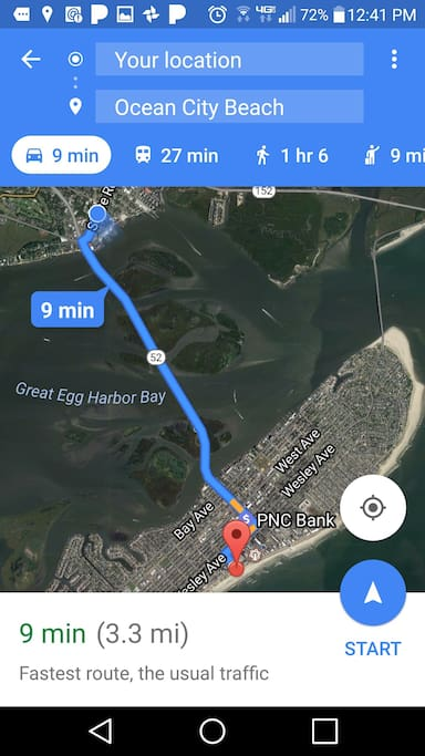 """Distance From """"GREAT BAY BUNGALWO"""" (Red Dot) To OCEAN CITY, N.J."""