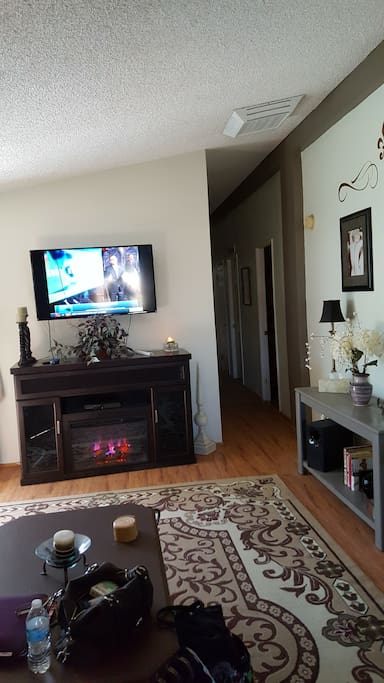 cozy fireplace and entertainment options
