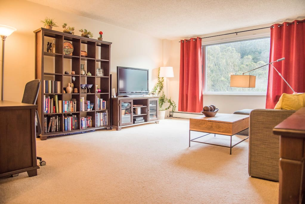 Large living room with view of Mount Sutro Open Space Preserve