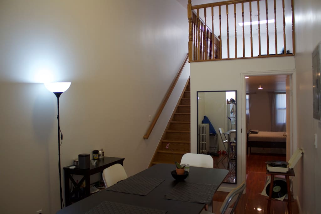 Dining room + stairs to you open space