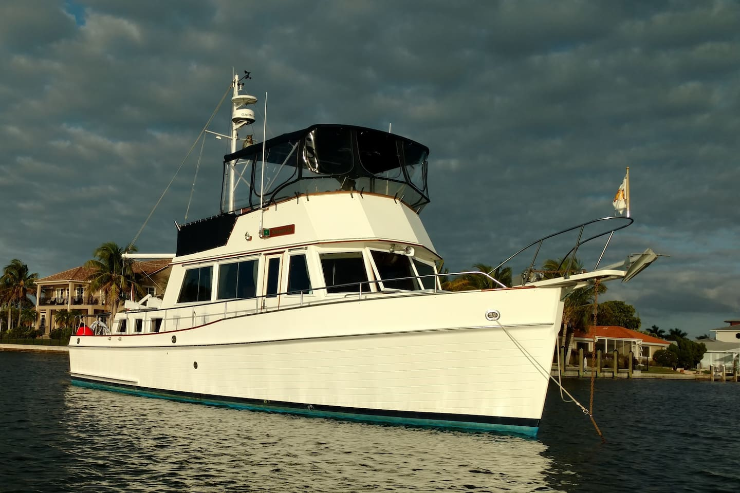 Shangri-La is a 42' Grand Banks Classic motor yacht.  Pictured here at anchor.