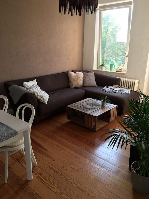 Das Wohnzimmer mit Schlafsofa
