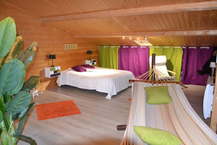 Grande chambre cocooning sous les toits !