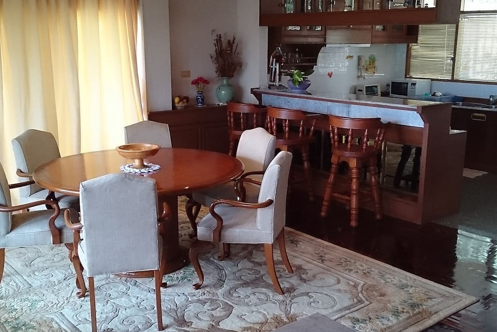 Living room with dining table and kitchen counter