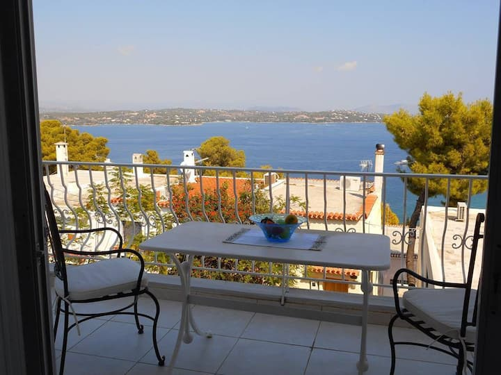 Spetses maisonette with sea and mountain view