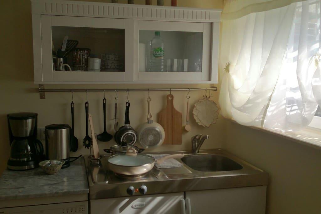 Küchenzeile mit allen Utensilien, Kühlschrank, Kaffeemaschine, Wasserkocher und Geschirrspülmaschine. Tee, Kaffee und Gewürze sind natürlich auch vorhanden