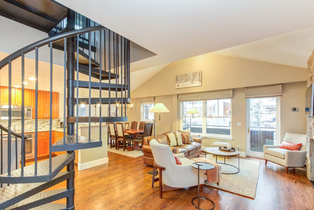 Some three bedroom units feature a spiral staircase to a bedroom upstairs.