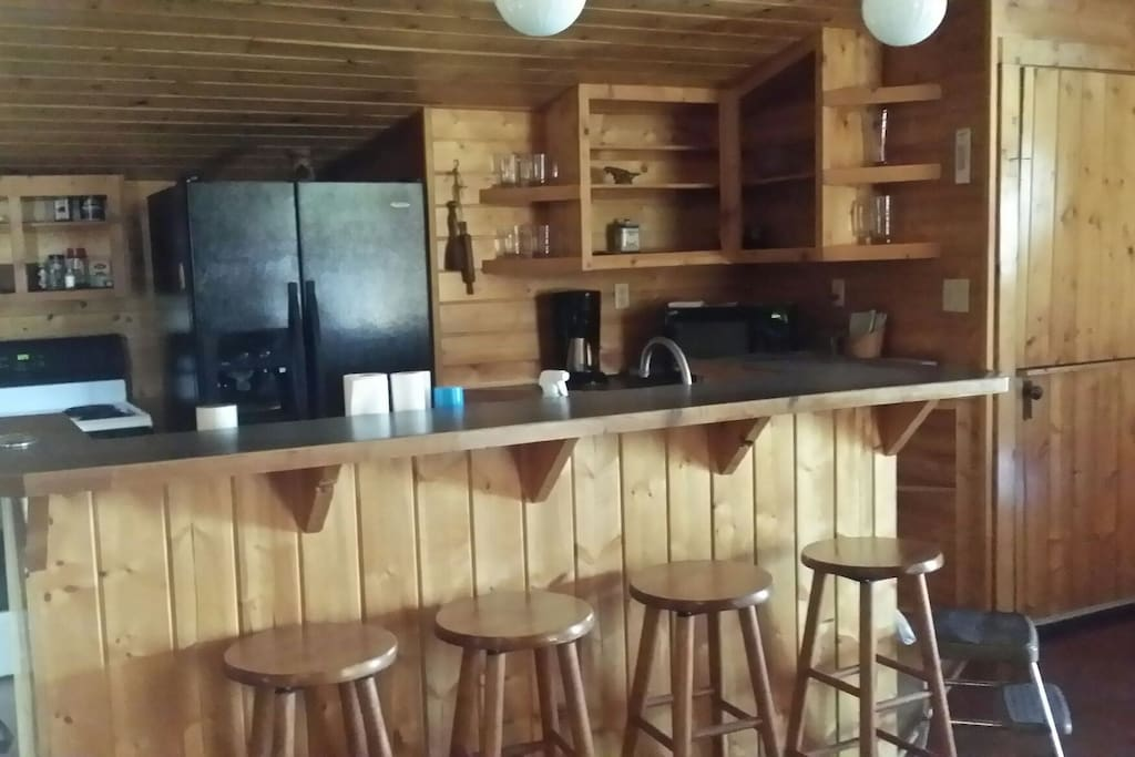 Bar stool in kitchen eating area.