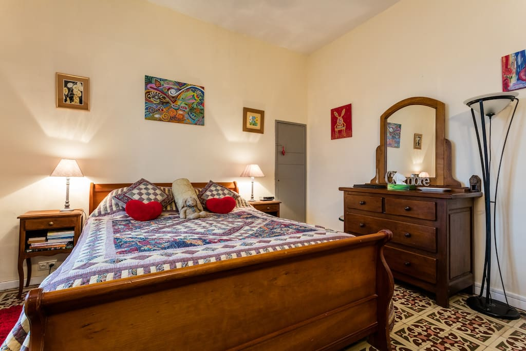 Spacious double bedroom with French oak chest of drawers