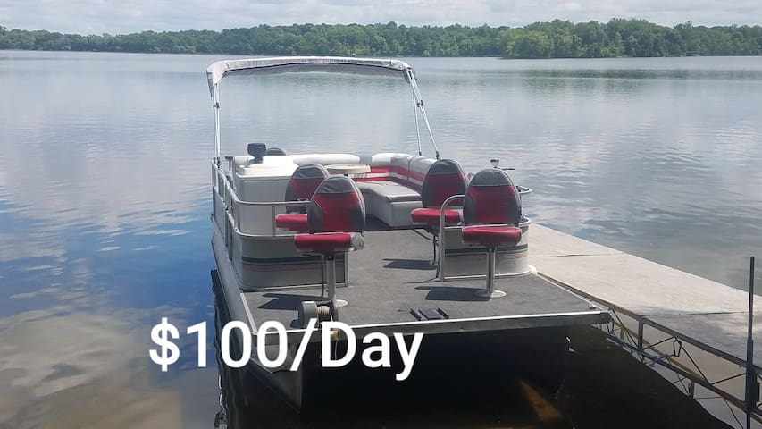 20' Pontoon with Yamaha four stroke for rent $100/day with $500 deposit cash or credit card