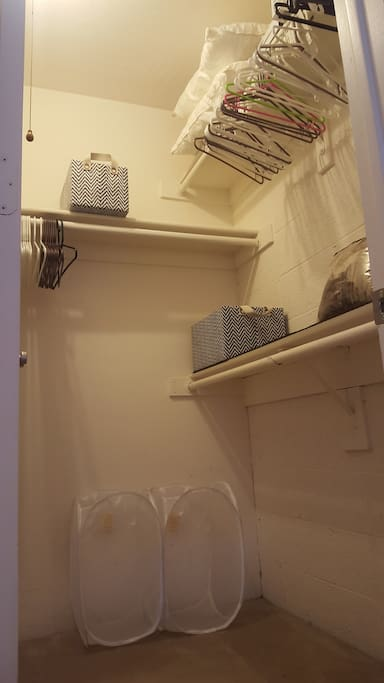 walk-in closet with lots of hangers, storage boxes and additional pillows and a blanket