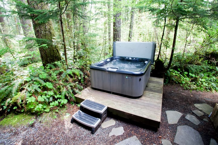 Jetted hot tub located just outside the back entrance