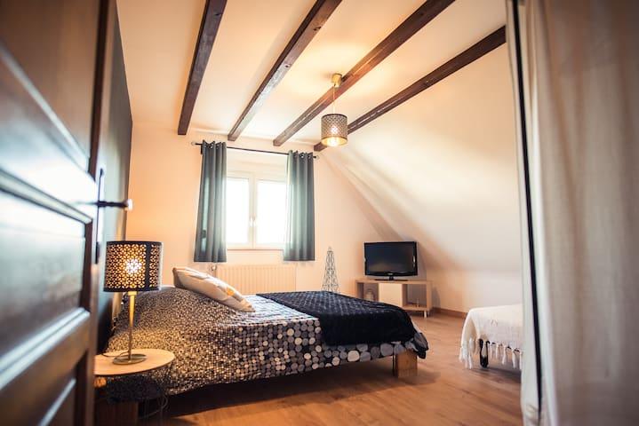 La chambre 1 équipée d'un lit parental ainsi que d'un lit-canapé BZ
