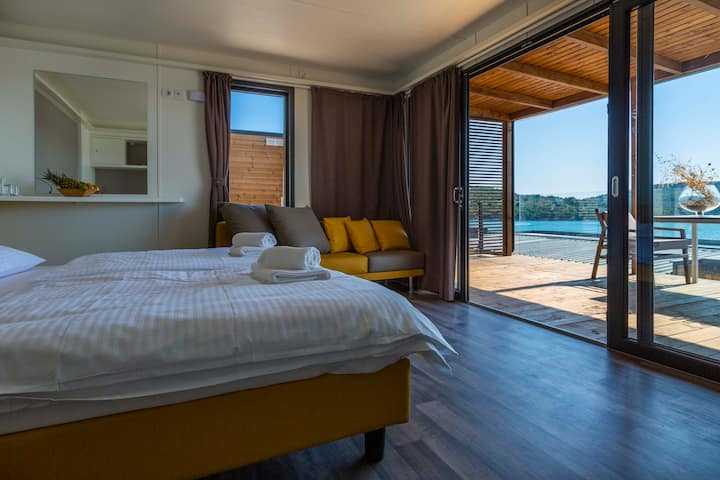 Luxury couple camping villa with sea view terrace