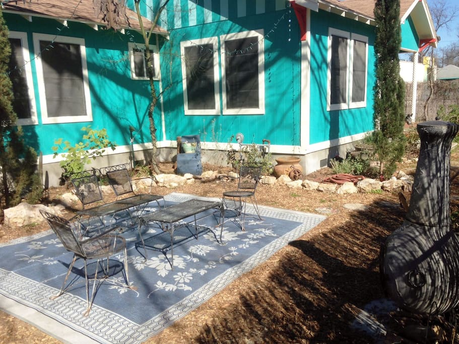 Garden and outdoor seating area.